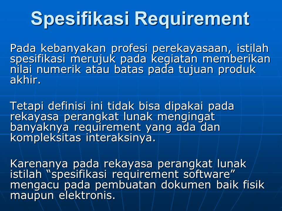 Spesifikasi Requirement
