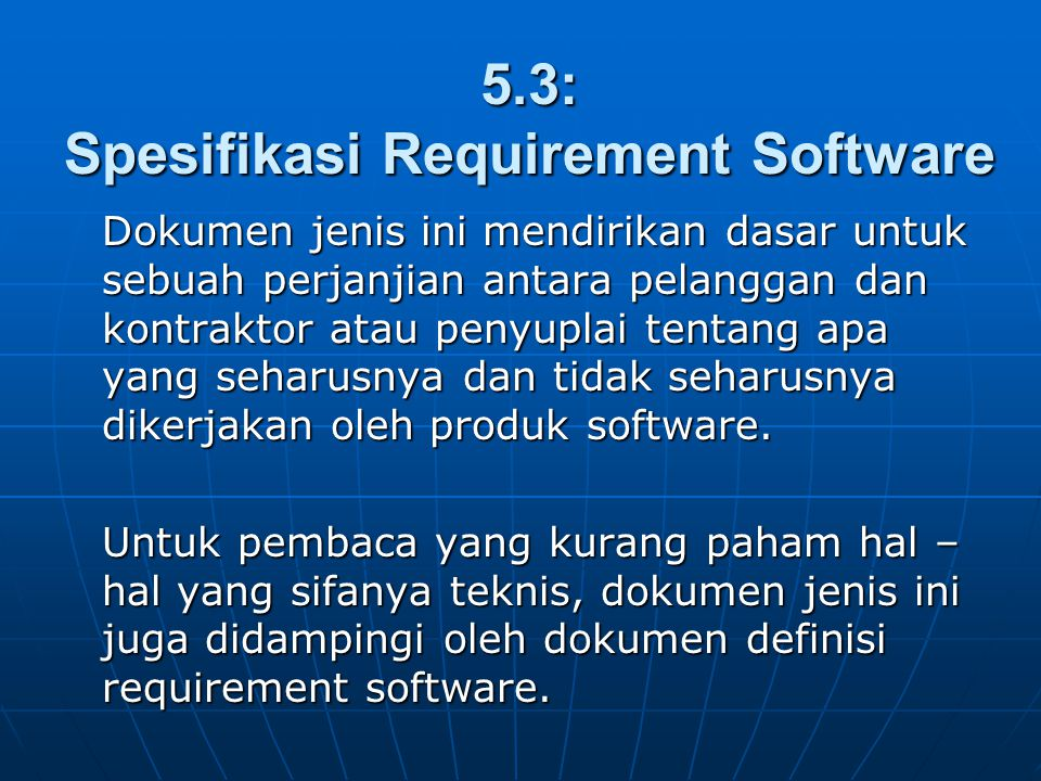 5.3: Spesifikasi Requirement Software