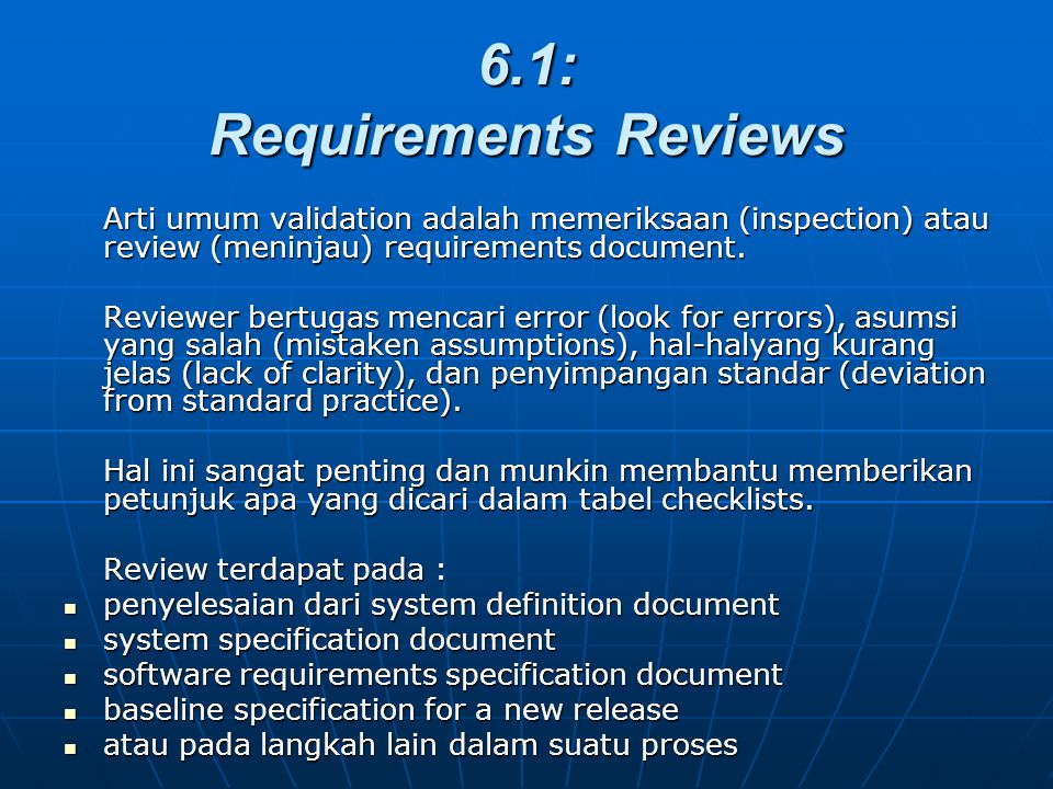 6.1: Requirements Reviews