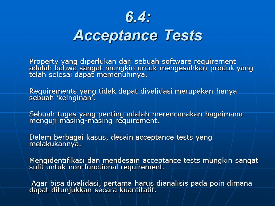 6.4: Acceptance Tests