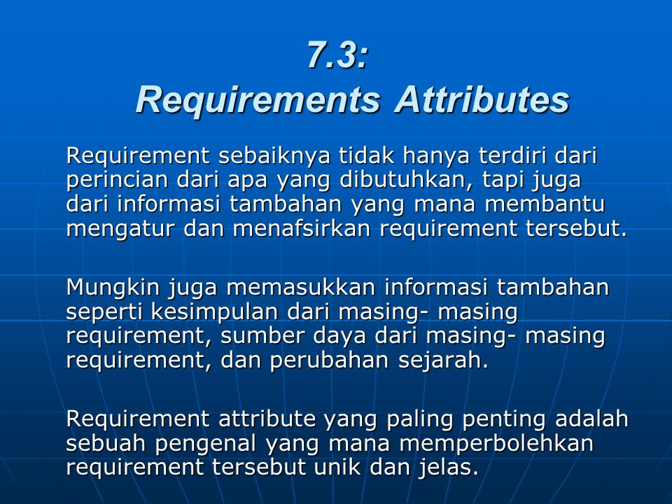 7.3: Requirements Attributes