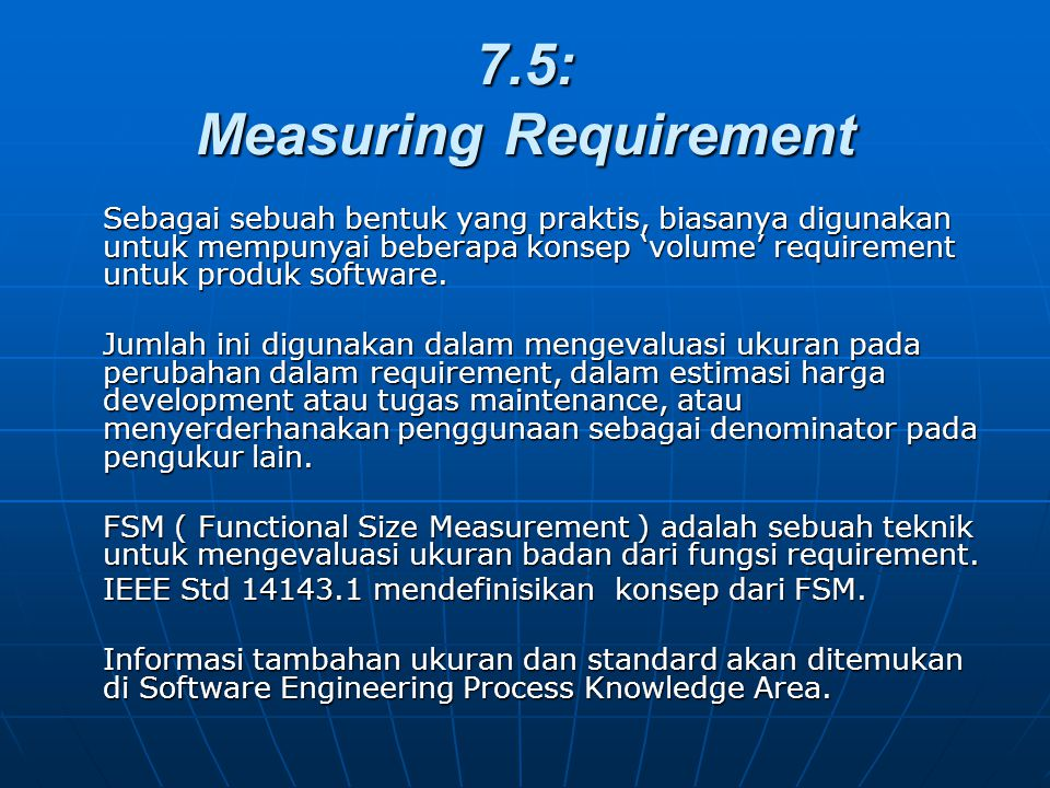 7.5: Measuring Requirement