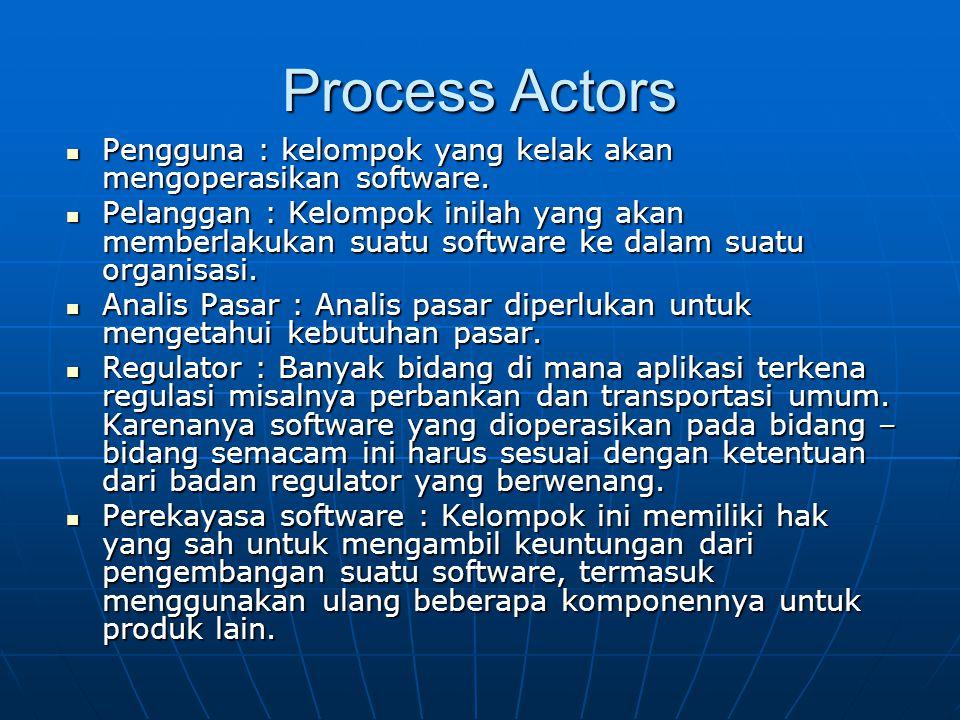 Process Actors Pengguna : kelompok yang kelak akan mengoperasikan software.
