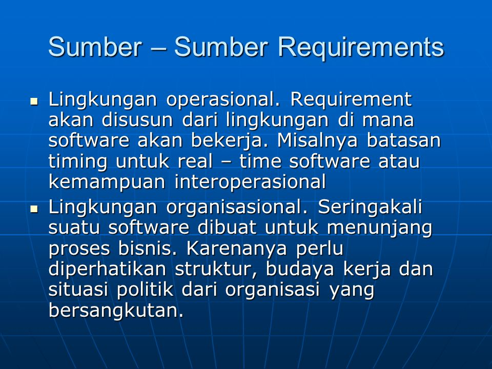 Sumber – Sumber Requirements