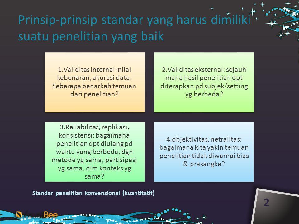 Prinsip-prinsip standar yang harus dimiliki suatu penelitian yang baik