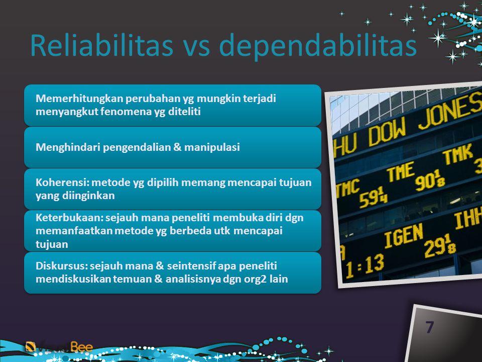 Reliabilitas vs dependabilitas