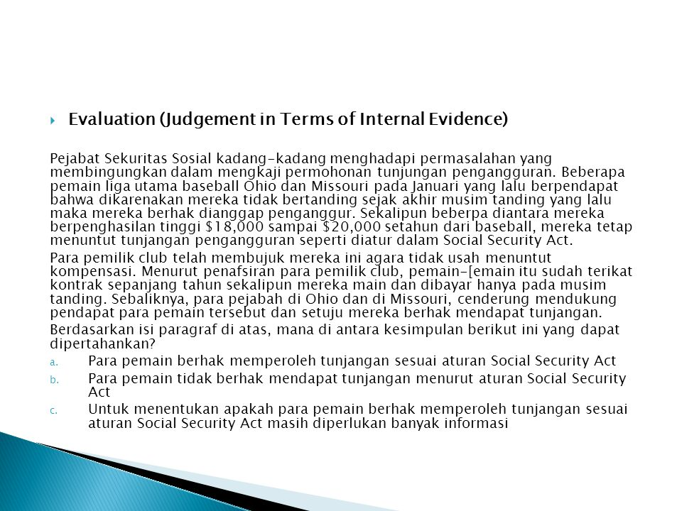 Evaluation (Judgement in Terms of Internal Evidence)