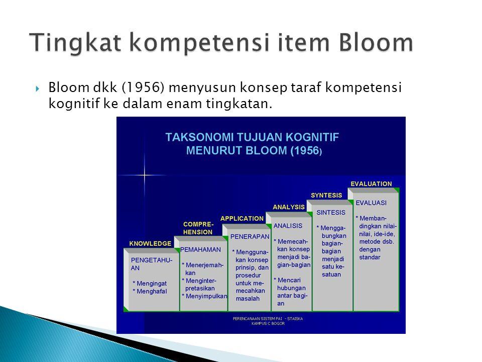 Tingkat kompetensi item Bloom