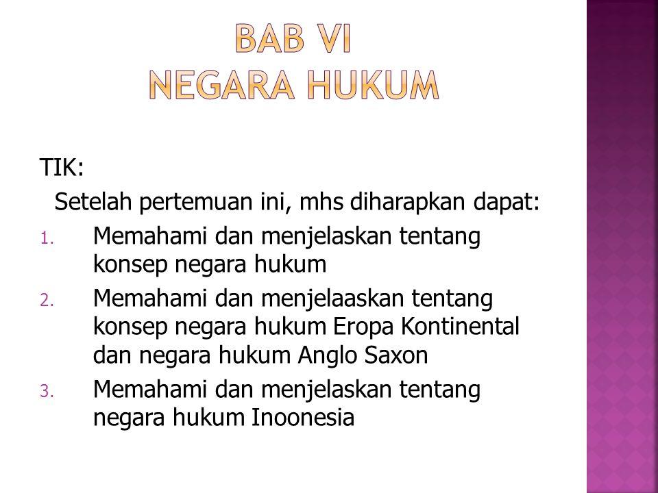 BAB VI Negara Hukum TIK: Setelah pertemuan ini, mhs diharapkan dapat: