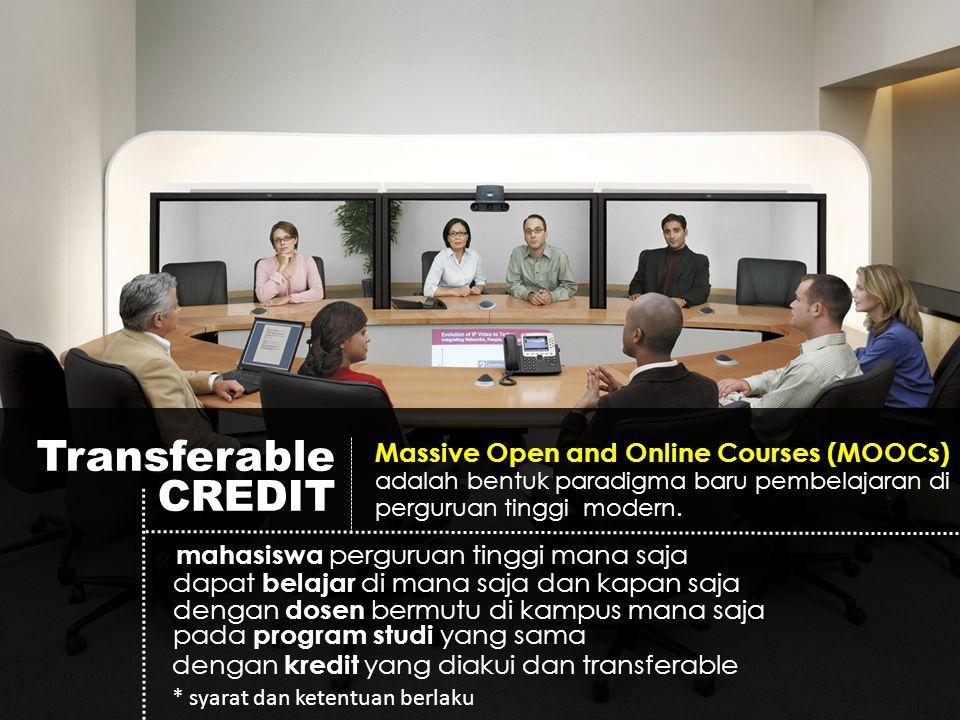 Transferable CREDIT Massive Open and Online Courses (MOOCs) adalah bentuk paradigma baru pembelajaran di perguruan tinggi modern.