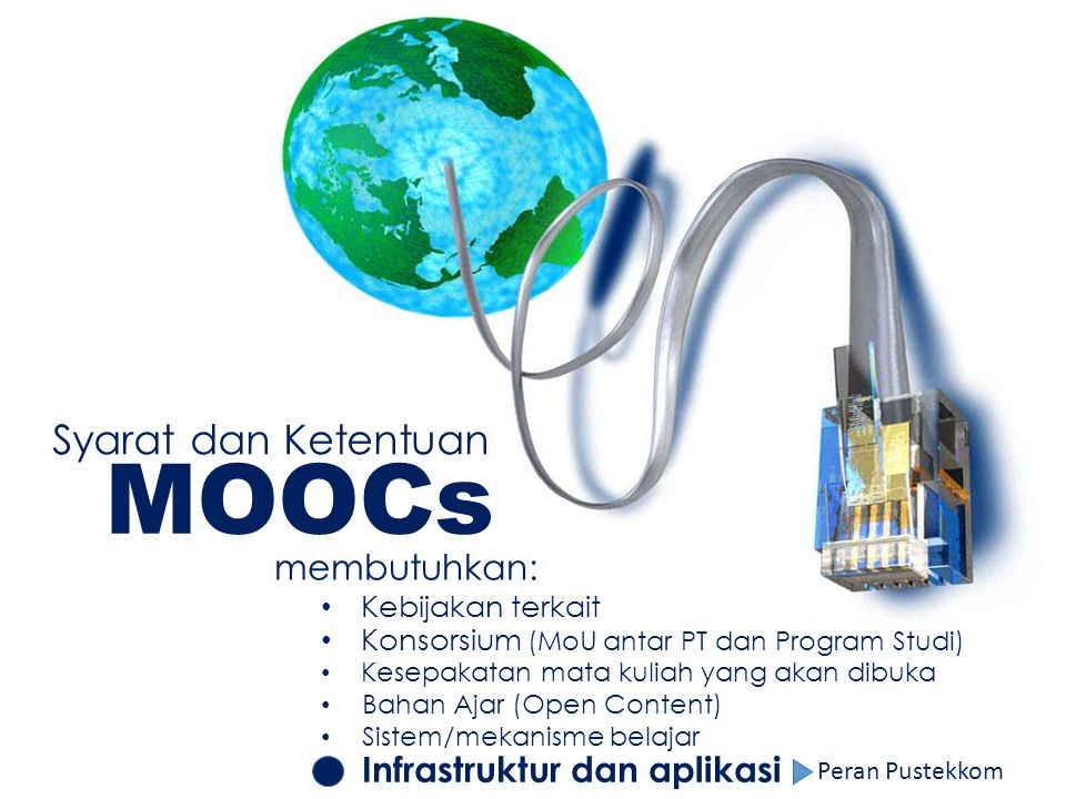 MOOCs Syarat dan Ketentuan membutuhkan: Infrastruktur dan aplikasi