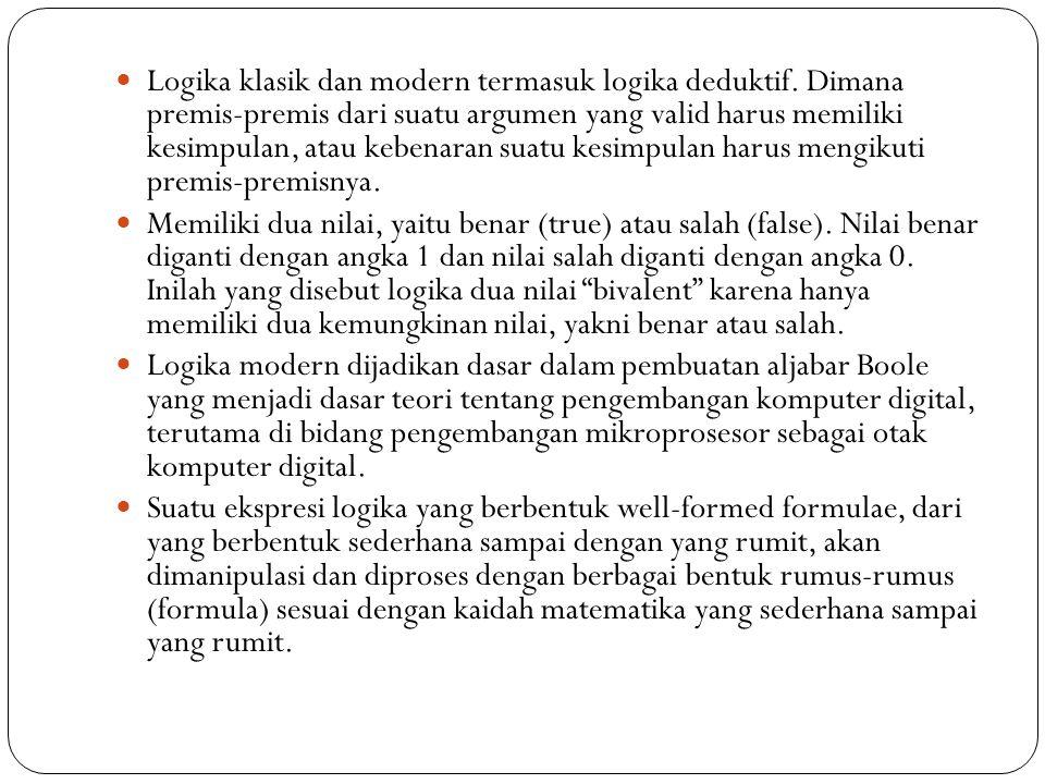 Logika klasik dan modern termasuk logika deduktif