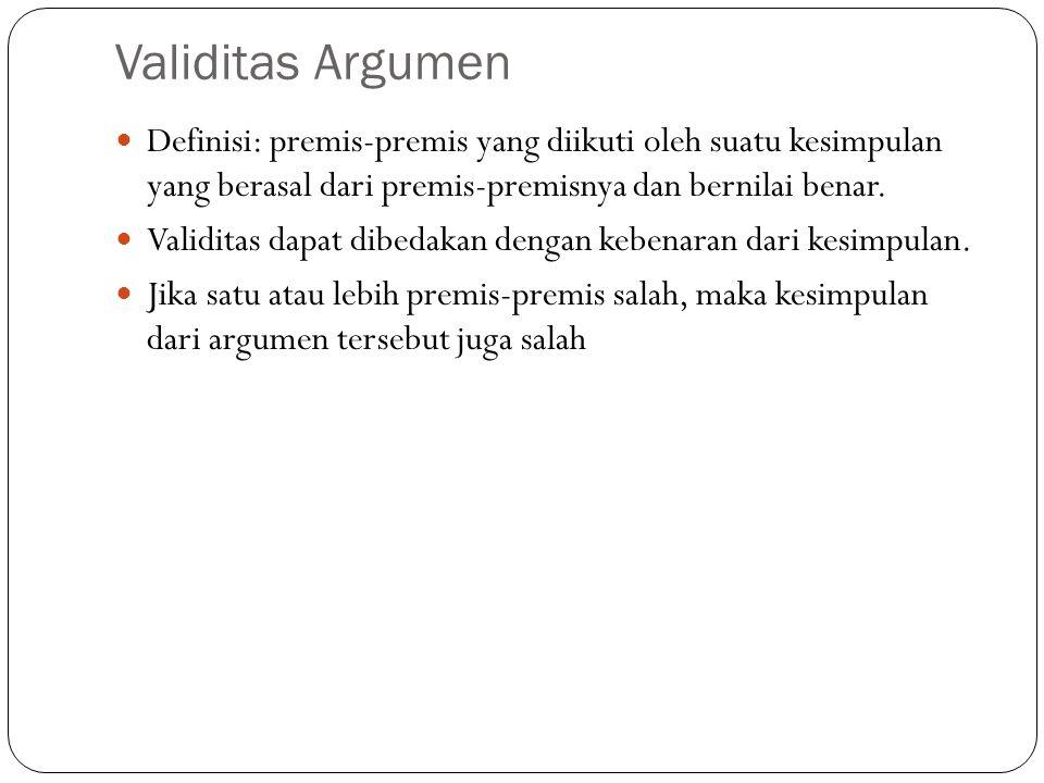Validitas Argumen Definisi: premis-premis yang diikuti oleh suatu kesimpulan yang berasal dari premis-premisnya dan bernilai benar.