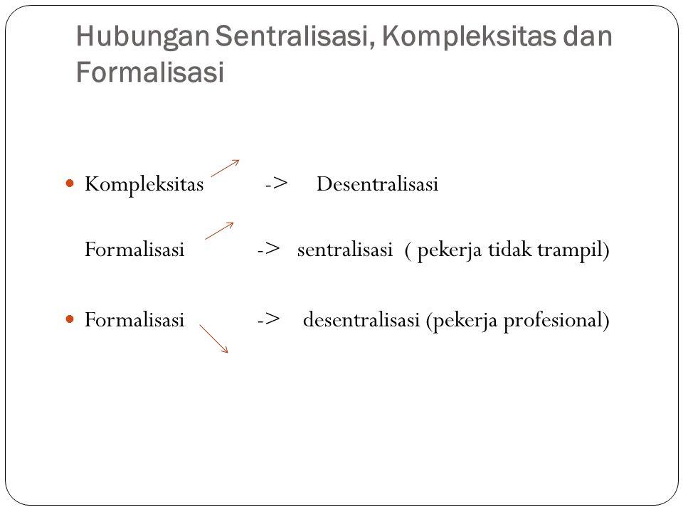 Hubungan sentralisasi, Kompleksitas dan Formalisasi Hubungan Sentralisasi, Kompleksitas dan Formalisasi