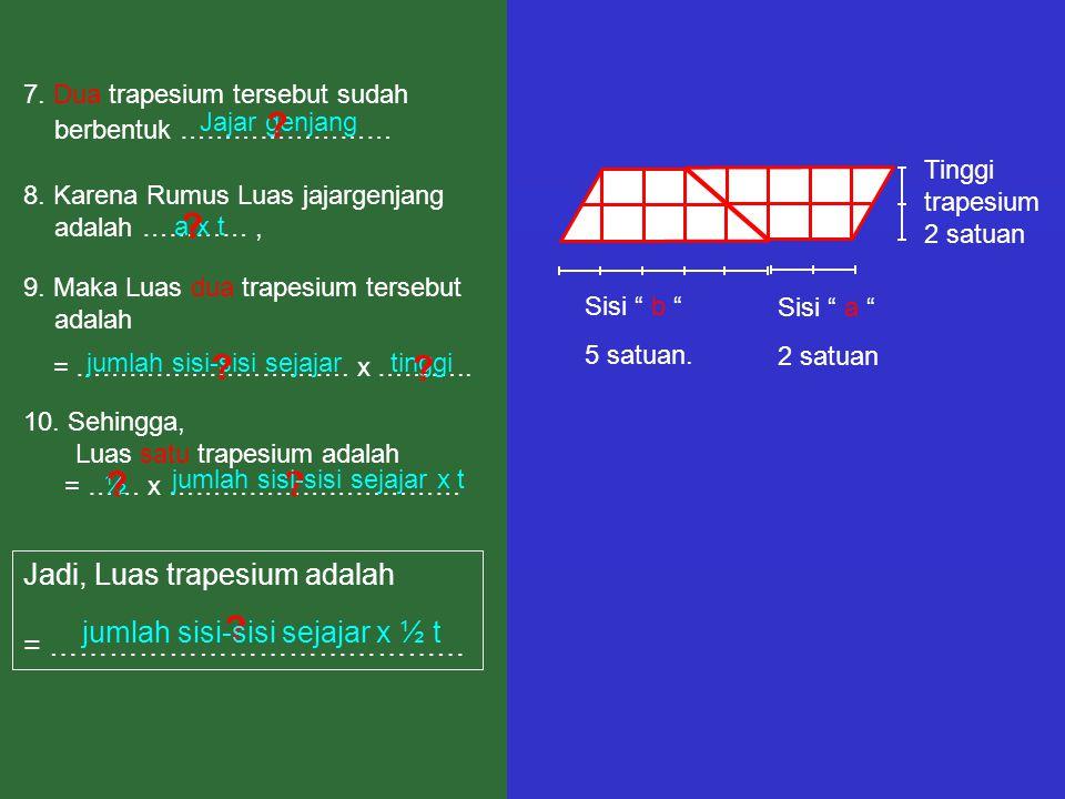 Jadi, Luas trapesium adalah = ……………………………………