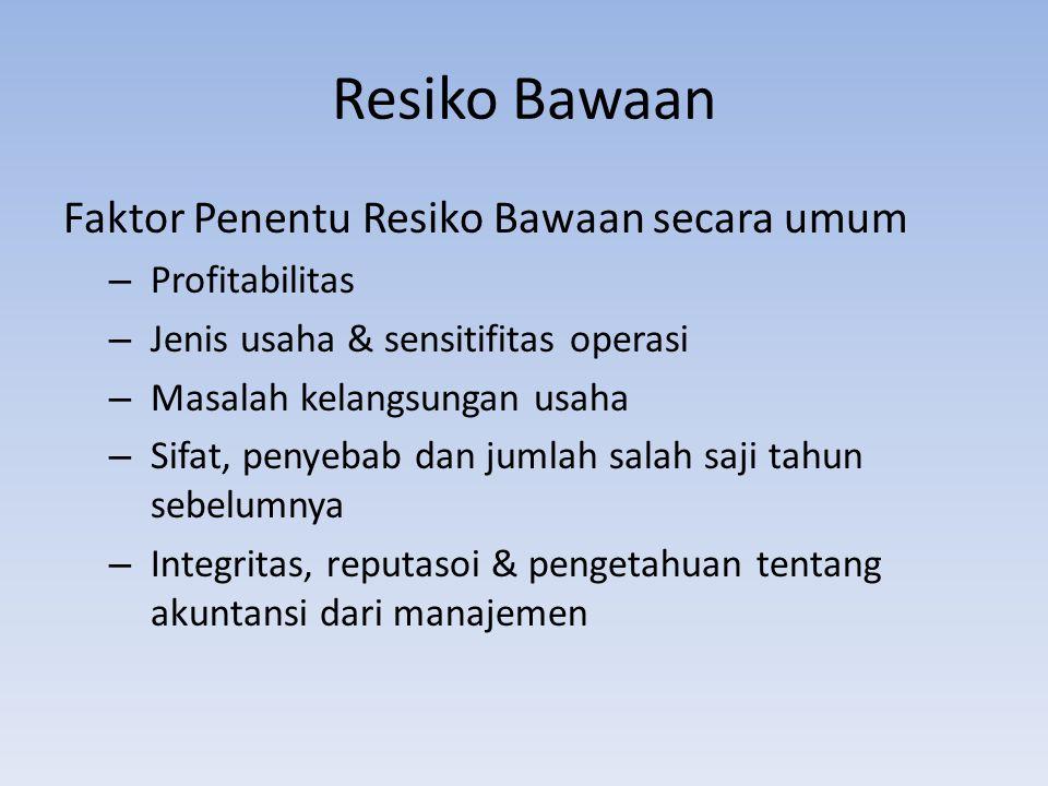 Resiko Bawaan Faktor Penentu Resiko Bawaan secara umum Profitabilitas