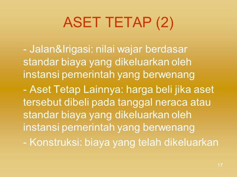 ASET TETAP (2) - Jalan&Irigasi: nilai wajar berdasar standar biaya yang dikeluarkan oleh instansi pemerintah yang berwenang.