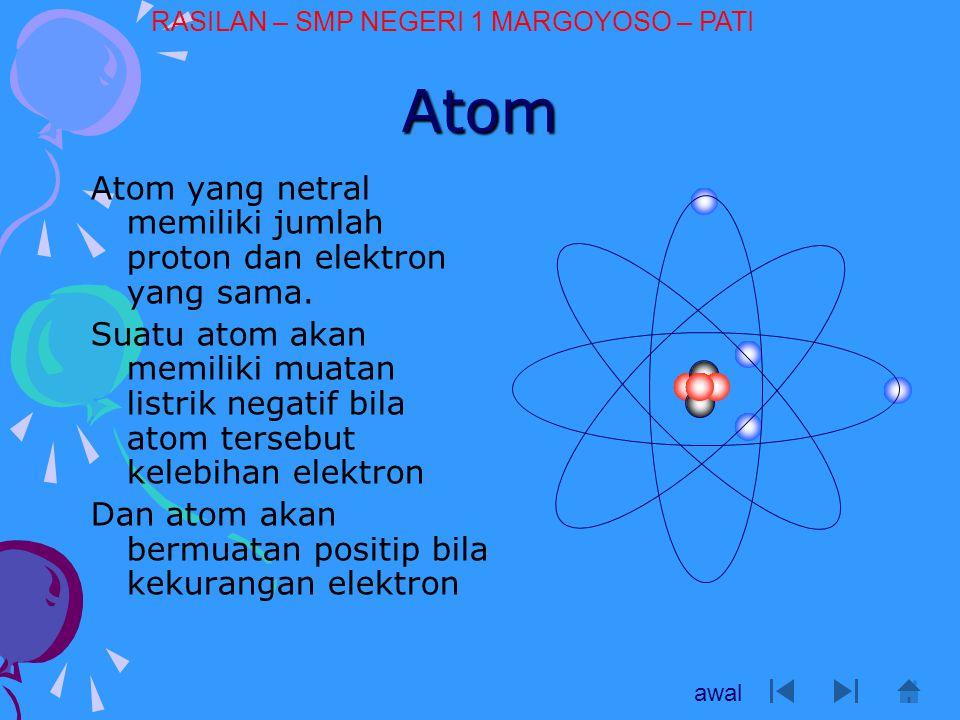 Atom Atom yang netral memiliki jumlah proton dan elektron yang sama.