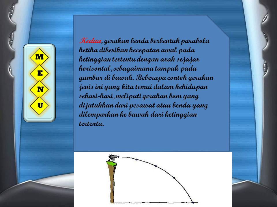 Kedua, gerakan benda berbentuk parabola ketika diberikan kecepatan awal pada ketinggian tertentu dengan arah sejajar horisontal, sebagaimana tampak pada gambar di bawah. Beberapa contoh gerakan jenis ini yang kita temui dalam kehidupan sehari-hari, meliputi gerakan bom yang dijatuhkan dari pesawat atau benda yang dilemparkan ke bawah dari ketinggian tertentu.