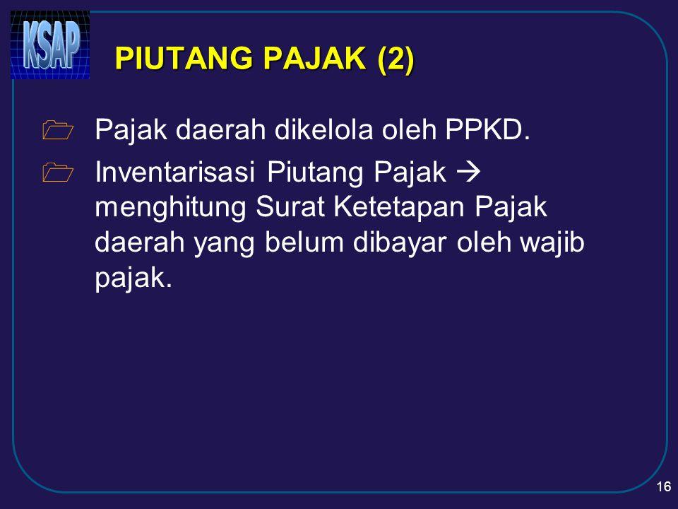 PIUTANG PAJAK (2) Pajak daerah dikelola oleh PPKD.