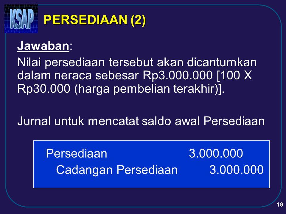PERSEDIAAN (2) Jawaban: