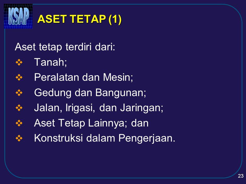 ASET TETAP (1) Aset tetap terdiri dari: Tanah; Peralatan dan Mesin;