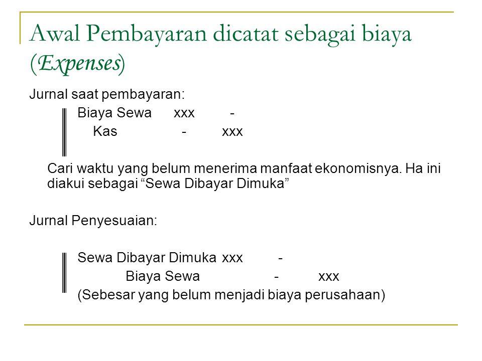 Awal Pembayaran dicatat sebagai biaya (Expenses)