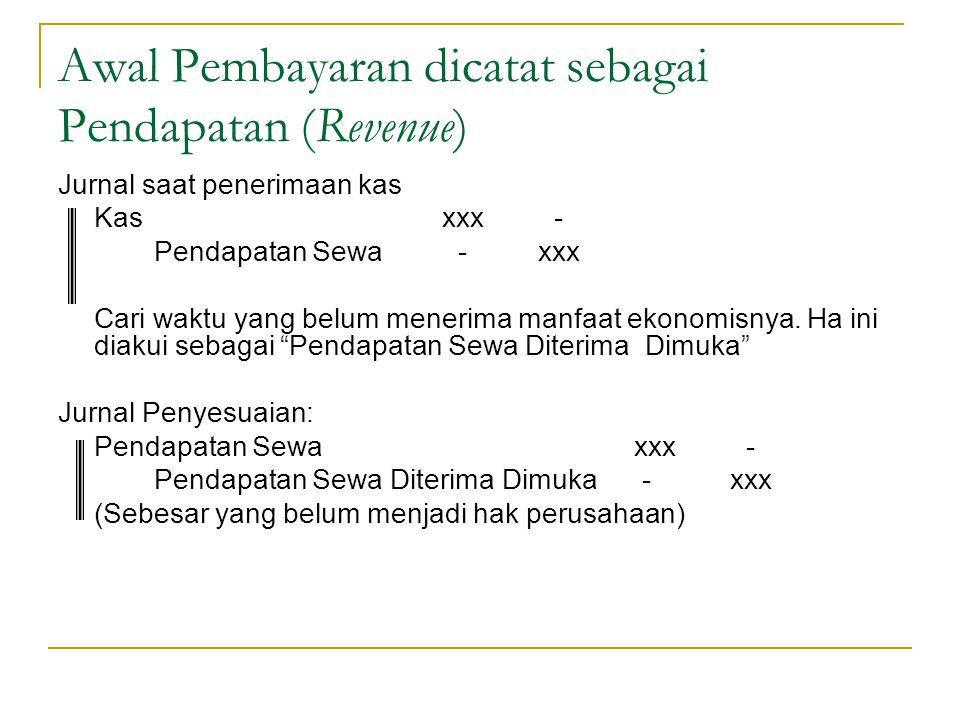 Awal Pembayaran dicatat sebagai Pendapatan (Revenue)