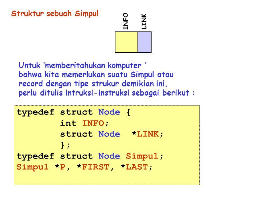 typedef struct Node Simpul; Simpul *P, *FIRST, *LAST;