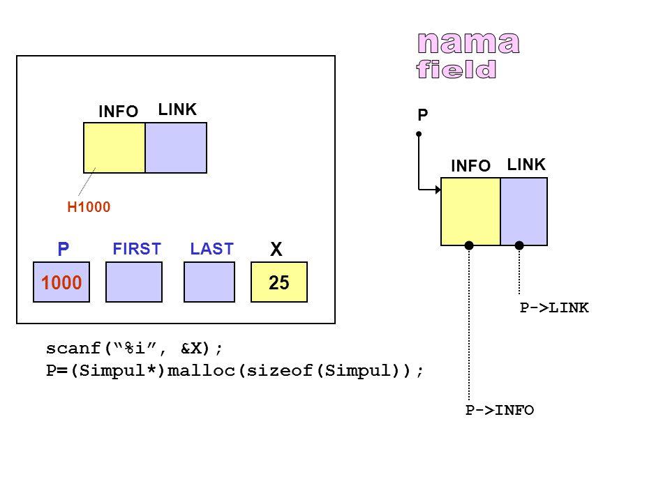nama field P X 1000 25 scanf( %i , &X);