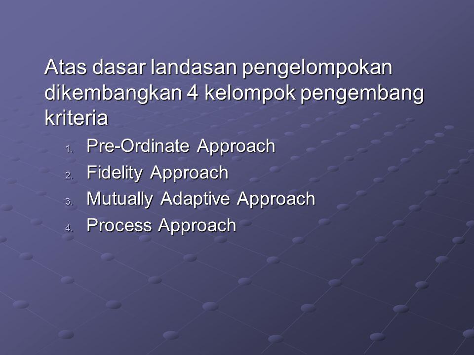 Atas dasar landasan pengelompokan dikembangkan 4 kelompok pengembang kriteria