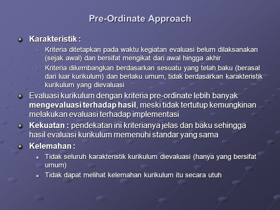 Pre-Ordinate Approach