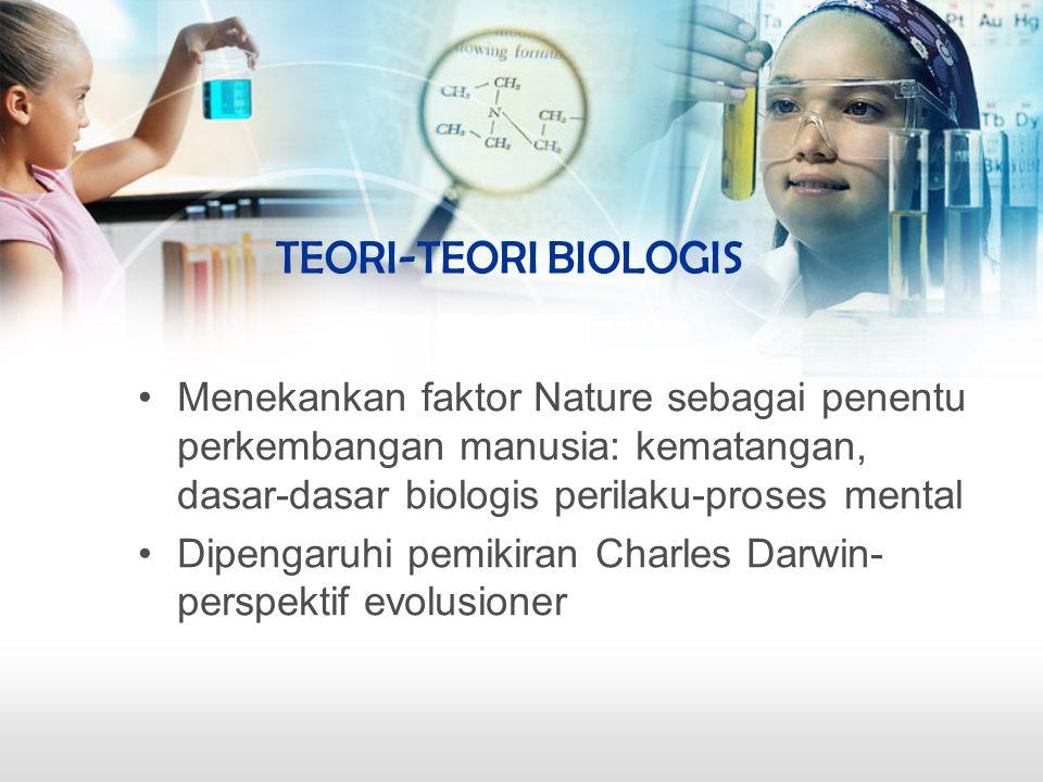 TEORI-TEORI BIOLOGIS Menekankan faktor Nature sebagai penentu perkembangan manusia: kematangan, dasar-dasar biologis perilaku-proses mental.