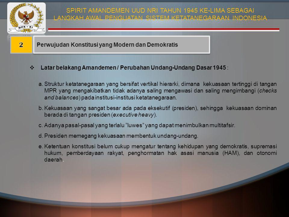 SPIRIT AMANDEMEN UUD NRI TAHUN 1945 KE-LIMA SEBAGAI LANGKAH AWAL PENGUATAN SISTEM KETATANEGARAAN INDONESIA