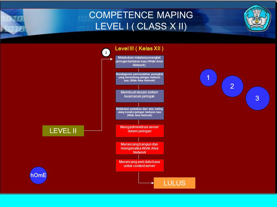 COMPETENCE MAPING LEVEL I ( CLASS X II) 1 2 3 LEVEL II LULUS