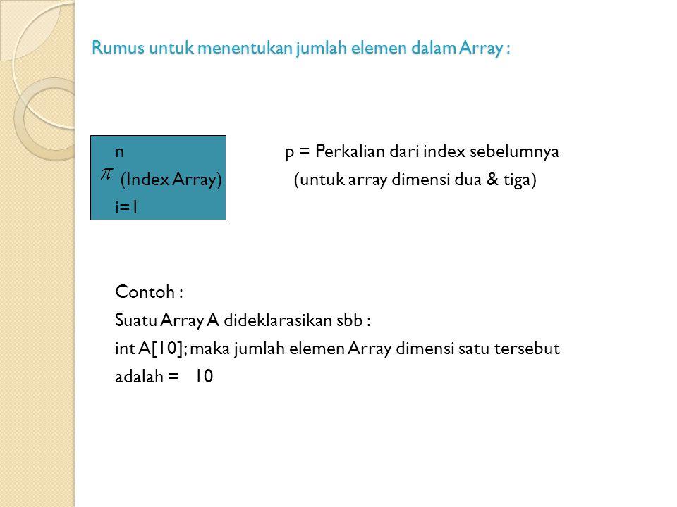 Rumus untuk menentukan jumlah elemen dalam Array :