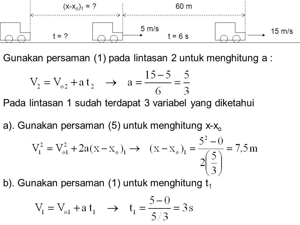 Gunakan persaman (1) pada lintasan 2 untuk menghitung a :