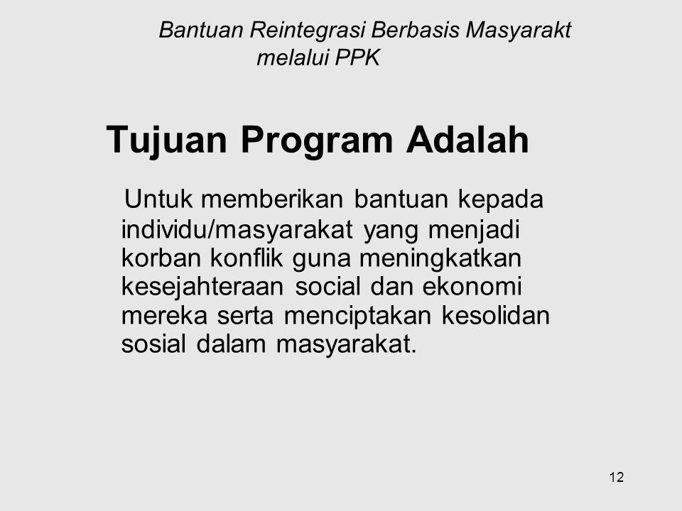 Program Bantuan Reintegrasi Berbasis Masyarakt melalui PPK Tujuan Program Adalah