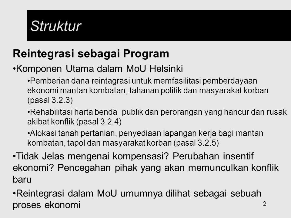 Struktur Reintegrasi sebagai Program Komponen Utama dalam MoU Helsinki