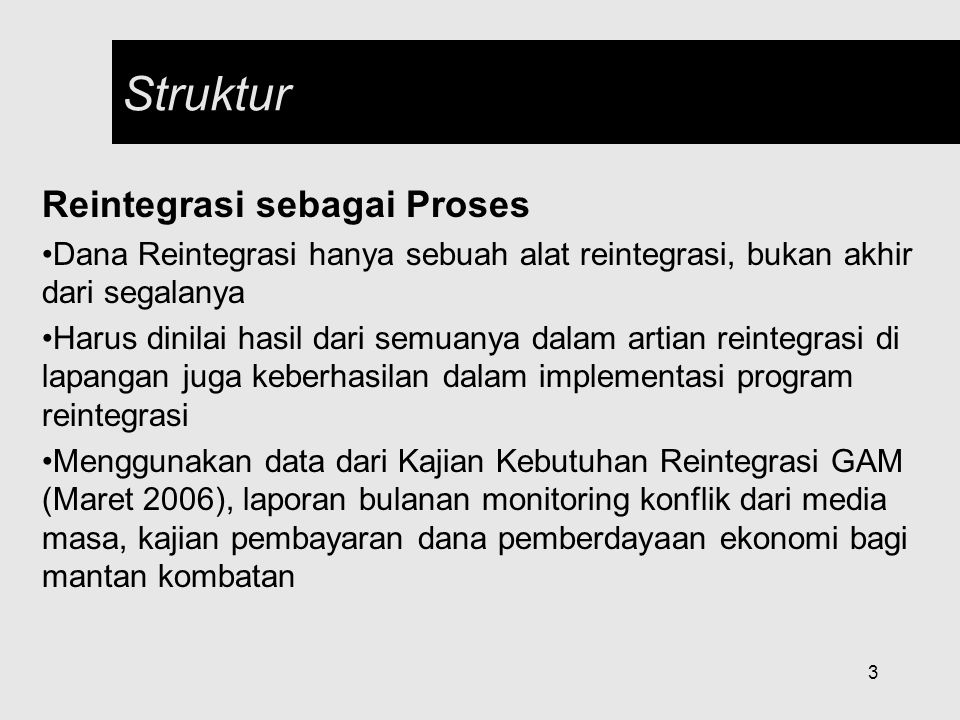Struktur Reintegrasi sebagai Proses