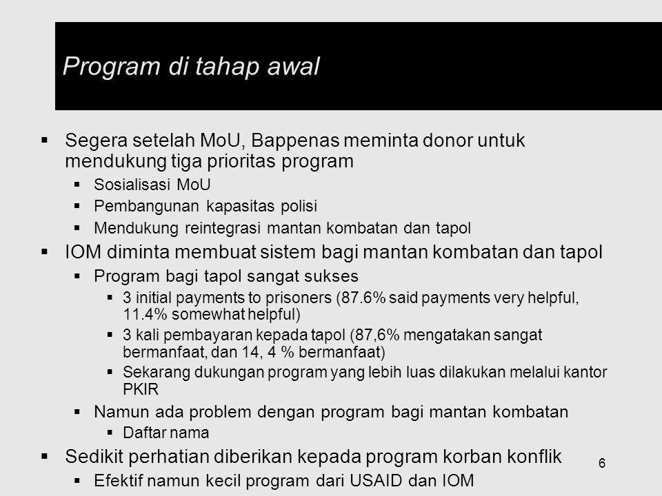 Program di tahap awal Segera setelah MoU, Bappenas meminta donor untuk mendukung tiga prioritas program.