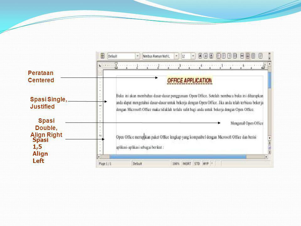 Perataan Centered Spasi Single, Justified Spasi Double, Align Right Spasi 1,5 Align Left