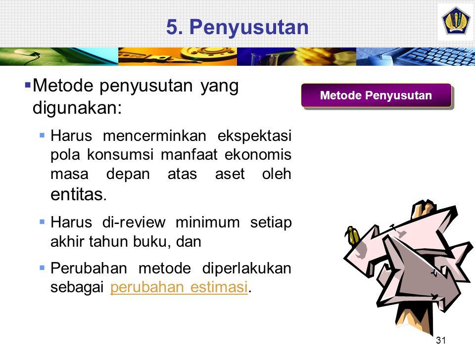 5. Penyusutan Metode penyusutan yang digunakan:
