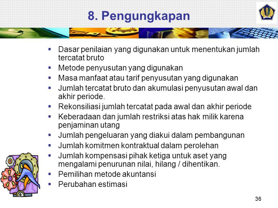 8. Pengungkapan Dasar penilaian yang digunakan untuk menentukan jumlah tercatat bruto. Metode penyusutan yang digunakan.