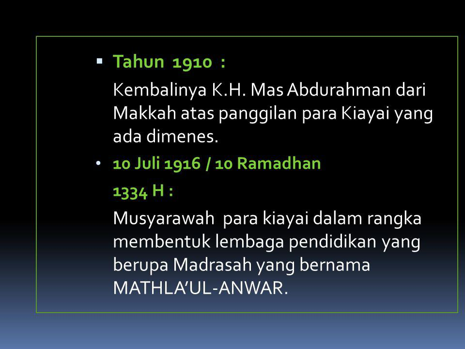 Tahun 1910 : Kembalinya K.H. Mas Abdurahman dari Makkah atas panggilan para Kiayai yang ada dimenes.