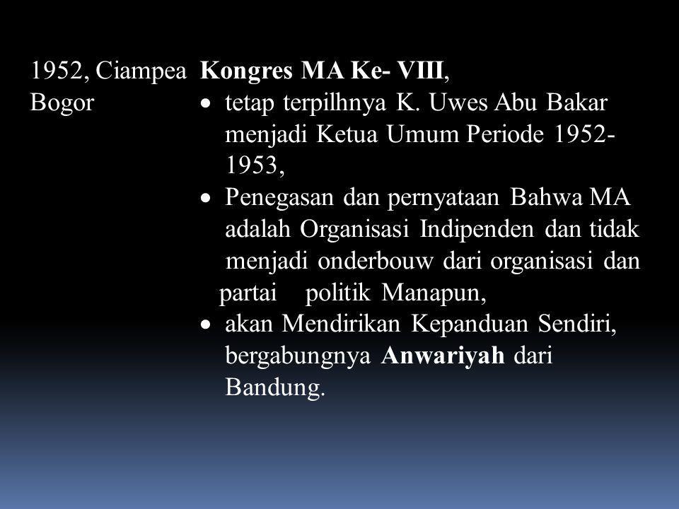 1952, Ciampea Bogor Kongres MA Ke- VIII, tetap terpilhnya K. Uwes Abu Bakar menjadi Ketua Umum Periode 1952-1953,