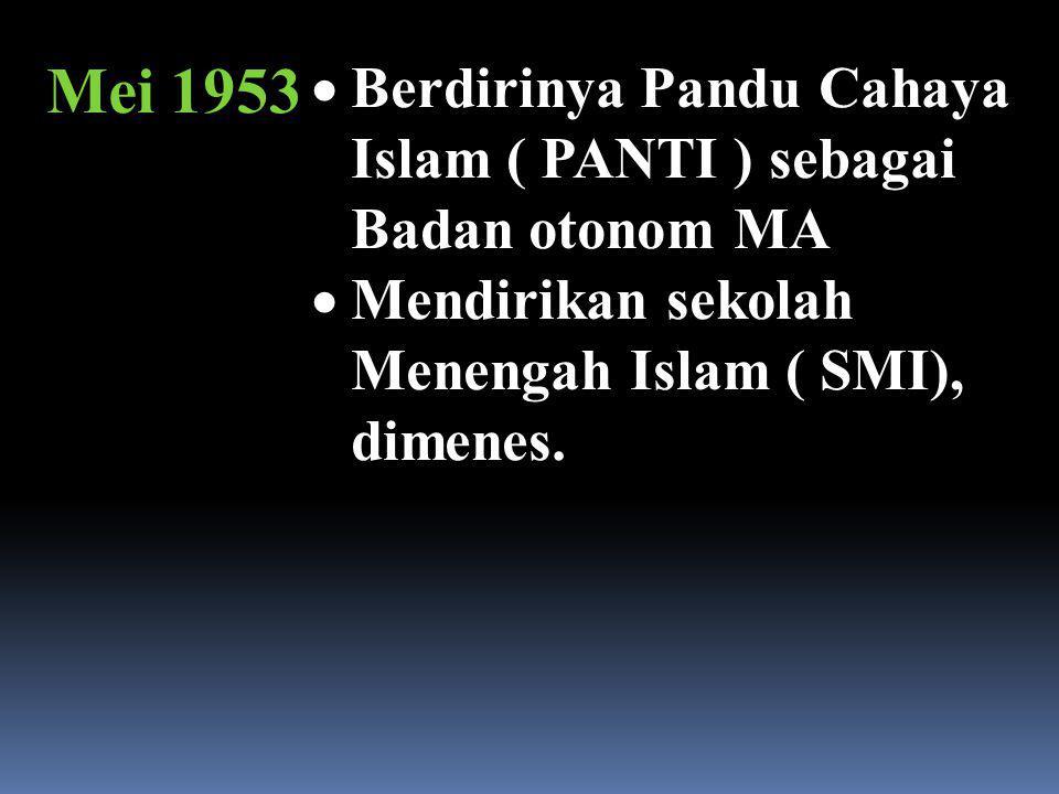 Mei 1953 Berdirinya Pandu Cahaya Islam ( PANTI ) sebagai Badan otonom MA.