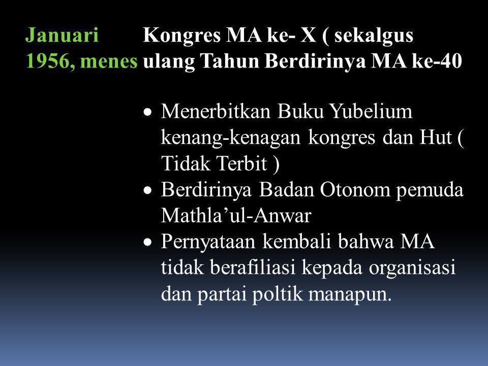 Januari 1956, menes Kongres MA ke- X ( sekalgus ulang Tahun Berdirinya MA ke-40.