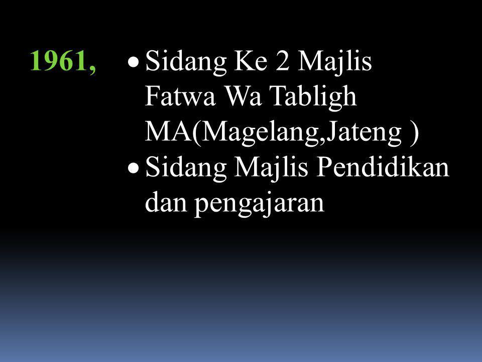 1961, Sidang Ke 2 Majlis Fatwa Wa Tabligh MA(Magelang,Jateng ) Sidang Majlis Pendidikan dan pengajaran.