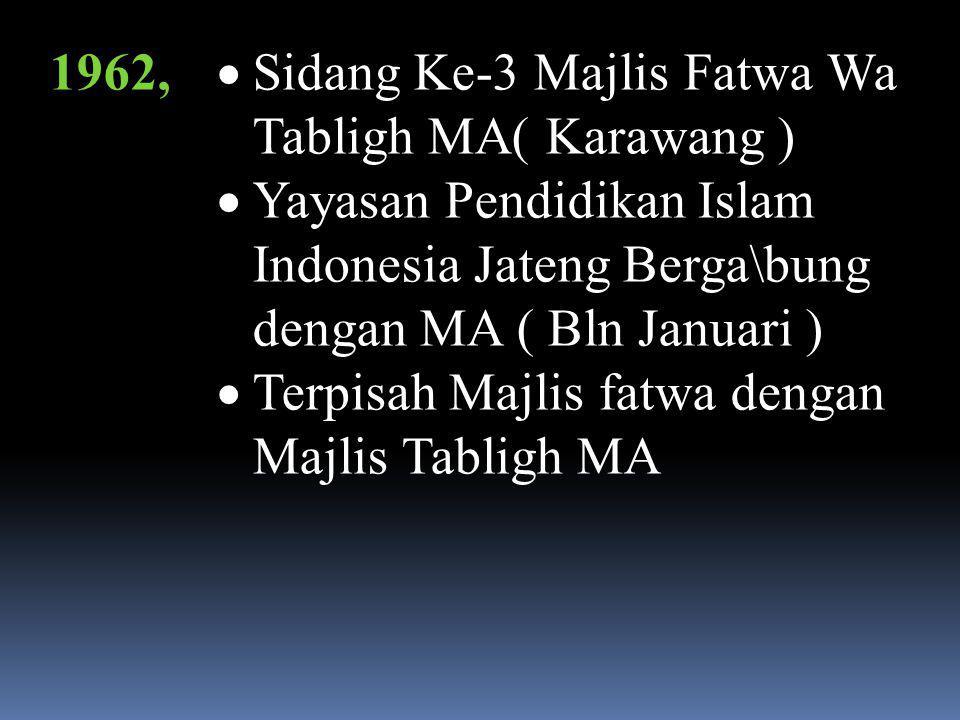 1962, Sidang Ke-3 Majlis Fatwa Wa Tabligh MA( Karawang ) Yayasan Pendidikan Islam Indonesia Jateng Berga\bung dengan MA ( Bln Januari )